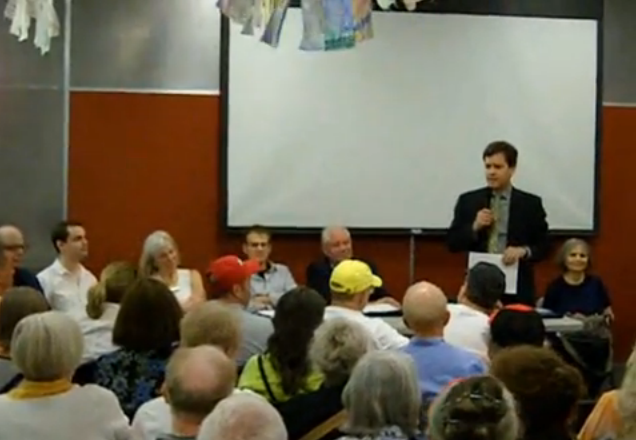 Five years ago, State Senator  Brad Hoylman  (D-Manhattan) was an officer of Manhattan's CB2. During one community board meeting, Mr. Hoylman called the  New York Police Department  to remove a senior citizen, who was complaining about the closing of  St. Vincent's Hospital . Source :  Louis Flores/YouTube/Screen Shot