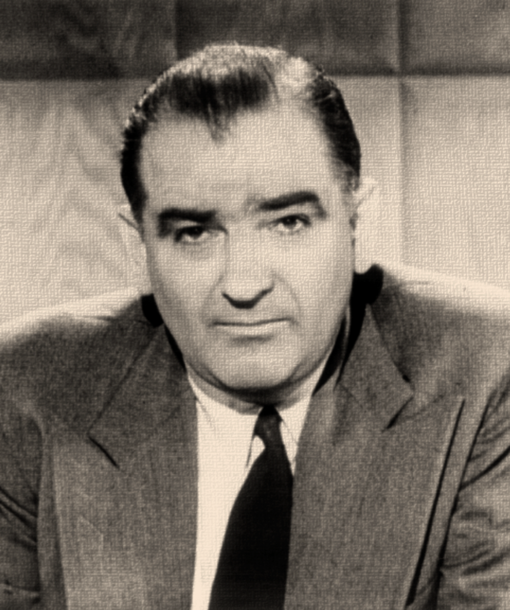 IN THE 1940'S AND 1950'S, THE GOVERNMENT RETALIATED AGAINST ACTIVISTS.  THOSE EFFORTS WERE VISIBLY LED BY SEN. JOSEPH MCCARTHY (R-WISCONSIN).  PHOTO ILLUSTRATION :  BASED ON WIKIPEDIA/LIBRARY OF CONGRESS/PUBLIC DOMAIN