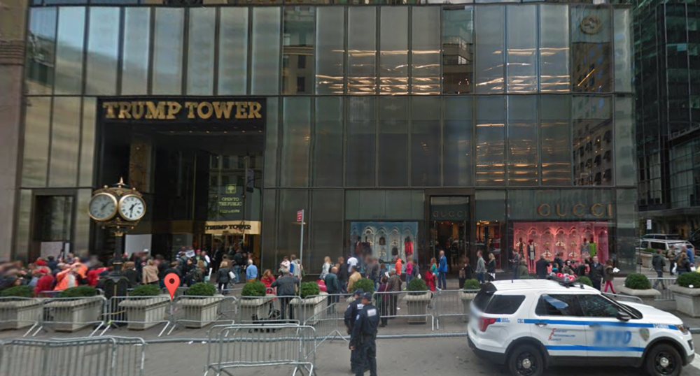 Trump Tower , captured in digital imagery taken in November 2016. Several law enforcement agencies must coördinate in partnership to provide security to President-elect  Donald Trump . Source : Google Street View