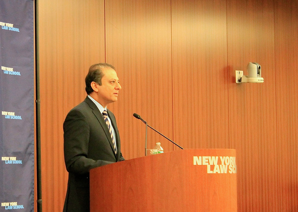 U.S. Attorney  Preet Bharara , at a public speech given at New York Law School, in 2015. Source : Progress Queens/File Photograph