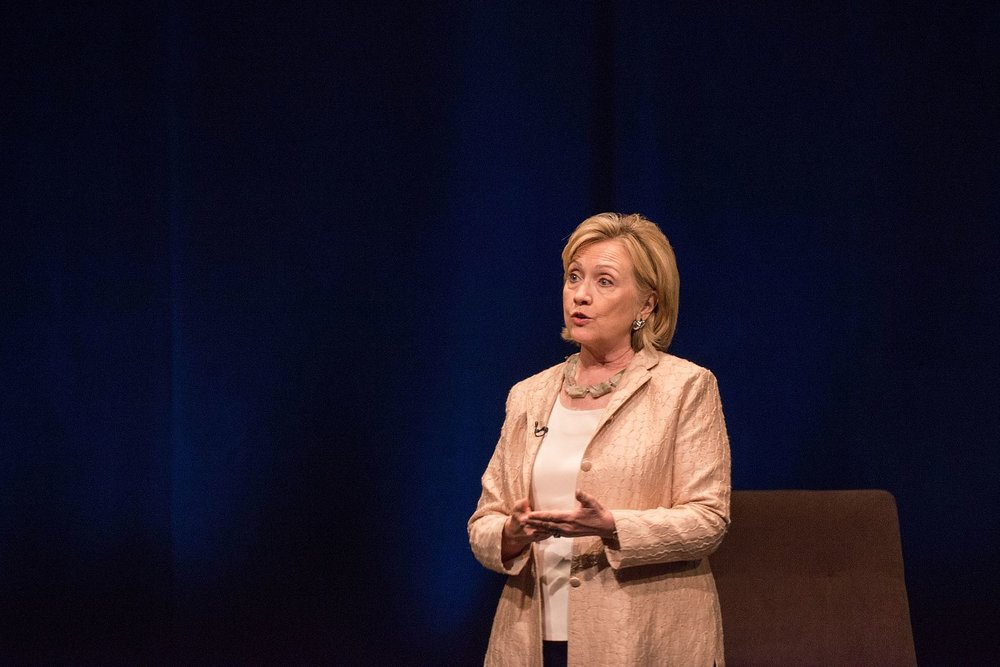 "Former First Lady Hillary Rodham Clinton at the LBJ Presidential Library in 2014, discussing her book, ""Hard Choices."" The Clinton Global Initiative was a project of the Clinton Foundation that critics said raised money from sources attempting to influence former President Bill Clinton and Mrs. Clinton, the former U.S. Secretary of State. Source : LBJ Presidential Library/Public Domain"