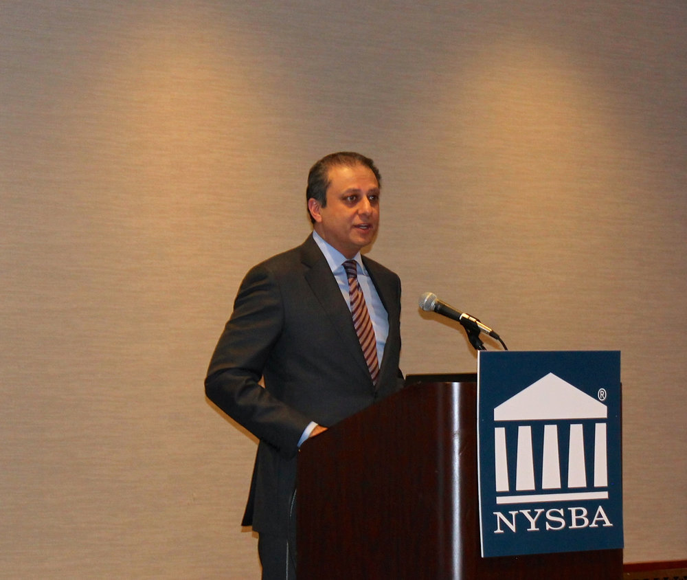 U.S. Attorney  Preet Bharara  received an award at the annual convention of the  New York State Bar Association  on January 25, 2017. The top Federal prosecutor in New York's southern district, U.S. Attorney Bharara wields great discretion to prosecute activists for their activism. Source : Louis Flores/Progress Queens