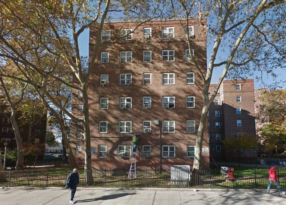 According to the findings of inspections conducted by the  U.S. Housing and Urban Development , the  Patterson Houses  in the Bronx received a physical condition score of 33, the lowest of any public housing development owned by the  New York City Housing Authority . Source : Google Street View/Fair Use
