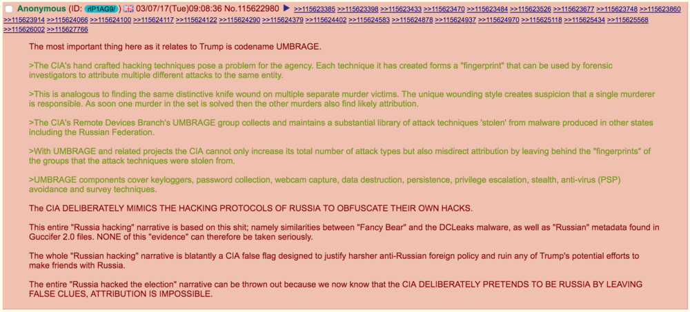 "When one contributor to the /pol/ community bulletin board of the Web site, 4chan, alleged that the alleged Russian hacks that took place in the time leading up to the 2016 U.S. presidential election were a ""CIA false flag,"" a sidebar discussion was triggered. Source : 4chan/Fair Use"