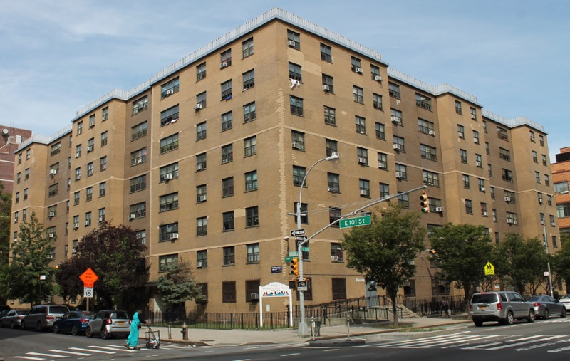 Metro Plaza North, in Spanish Harlem in Manhattan, is a public housing apartment building owned by the  New York City Housing Authority . According to records obtained by Progress Queens under the State's  Freedom of Information Law , an apartment in Metro Plaza North  tested positive for lead in drinking water  at a level that was highest of tests conducted at NYCHA apartments. Source : Louis Flores/Progress Queens/File Photograph