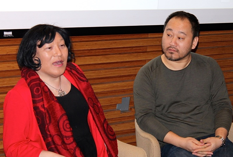 "Pauline Park, left, with the director Larry Tung, at the School of Visual Arts in Chelsea on Sunday during a Question-and-Answer session following a screening of ""Coming Full Circle : The Journey of a Transgendered Korean Adoptee"" (2015). The documentary short was screened as part of the PINKS Documentaries NYC, a four-day festival showcasing Korean films. Source : Louis Flores/Progress Queens"