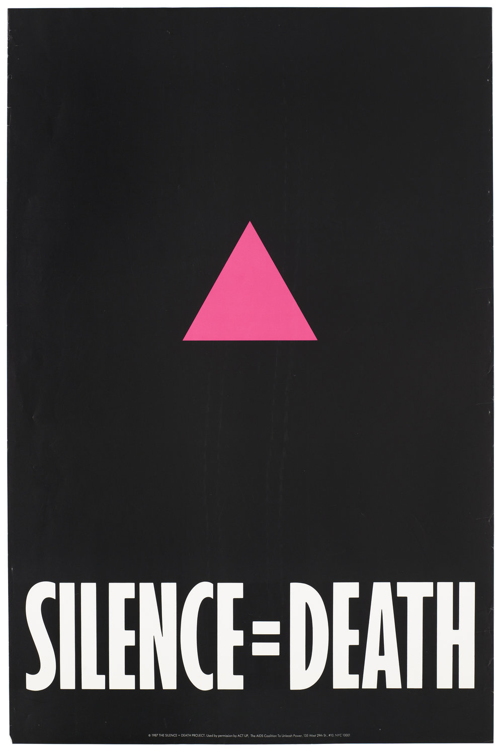 The Silence = Death poster displayed a powerful slogan that served as a call to action for individuals to join ACT UP. When it is most effective, ACT UP draws on the emotions of its activist members to achieve major public health policy wins or to pull off successful direct-actions on behalf of people living with HIV/AIDS. Source : Silence = Death Project/ACT UP/Fair Use