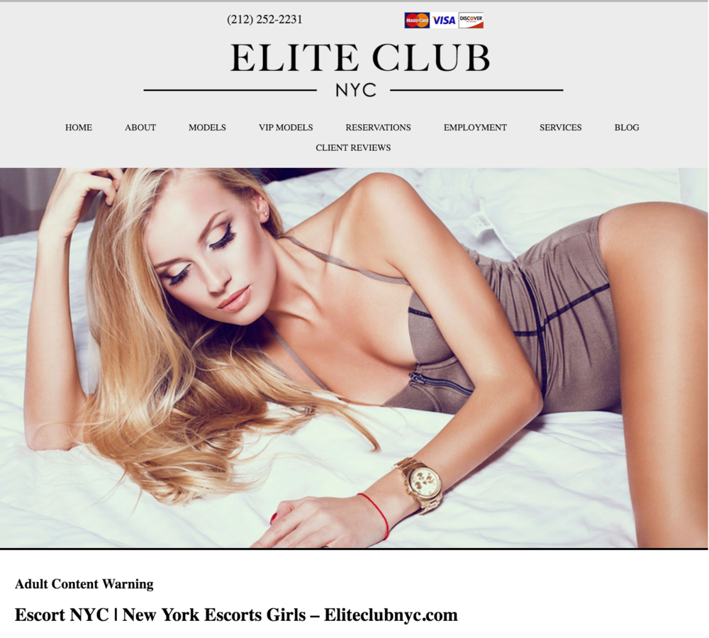 In 2016, Federal authorities seized or closed the Web sites allegedly operated by Michael Rizzi. Following Mr. Rizzi's arrest, Progress Queens identified one Web site allegedly part of the online escort network, www.janeblow.com, was redirecting at that time then to another Web site, www.eliteclubnyc.com.  Source :  www.eliteclubnyc.com/Screen Shot/Fair Use