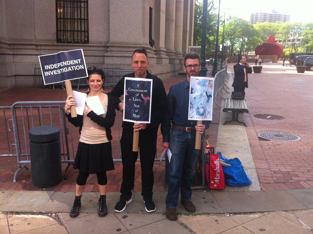16 May 2017 : Some members of the group  Indivisible  demonstrated outside the U. S. Court of Appeals for the Second Circuit in Manhattan's Civic Center. The demonstrators, who were near the U.S. Attorney's Office for New York's southern district, were promoting the upcoming 3 June 2017  #MarchForTruth . A coälition of groups organising the march and march participants are calling for an independent investigation into allegations of each of Russian interference with the 2016 presidential election and Russian ties to President Donald Trump, his administration, and his associates. The  U.S. Department of Justice , in conjunction with the Federal Bureau of Investigation, are conducting such an investigation, but that investigation has exposed conflicts of interests for senior Trump administration officials, including U.S. Attorney General  Jefferson Sessions III . News reports have also raised questions about actions taken by President Trump to allegedly thwart the Federal investigation, such as removing from office FBI Director  James Comey, Jr. , and former U.S. Attorney  Preet Bharara ., who may have asserted independence in the Federal investigation. Other national groups supporting or endorsing the march include Rock The Vote, MoveOn.org, and OurStates.org. Source : Louis Flores/Progress Queens