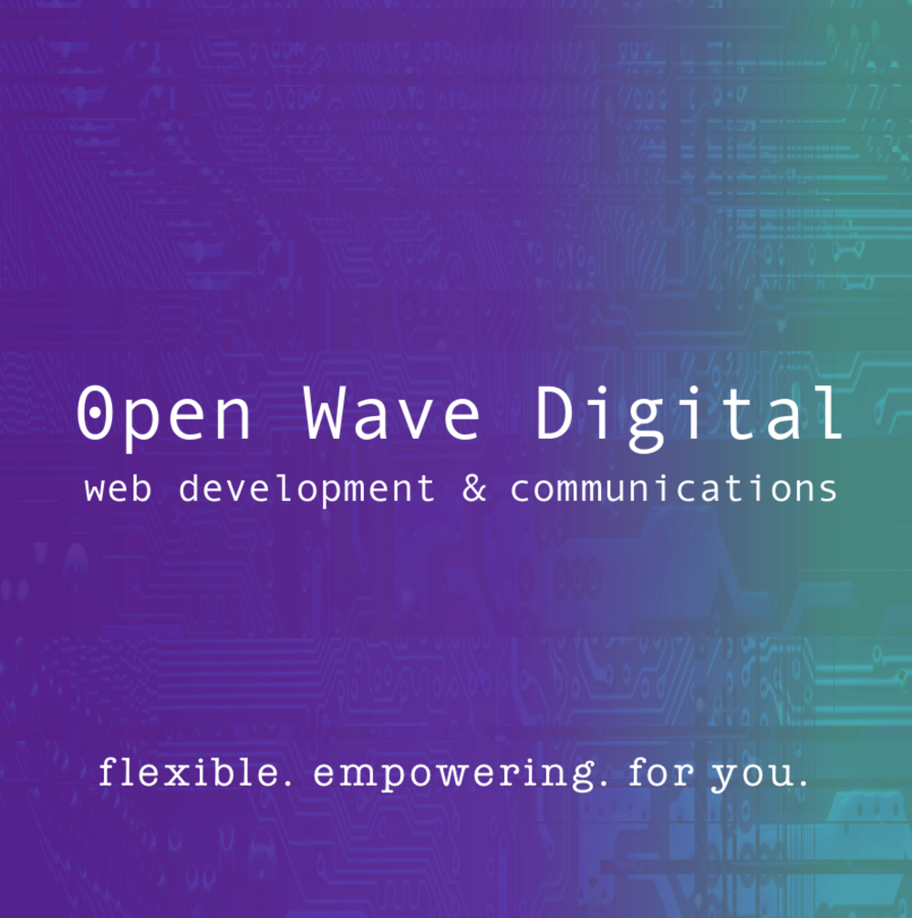 Open Wave Digital offers a complete Web communications solution, from Web design, TO Web Hosting, to e-commerce. We provide flexible open-source resources for you, your campaign, or your company. Our focus is on implementing safe and secure alternatives that aim to look good and empower.