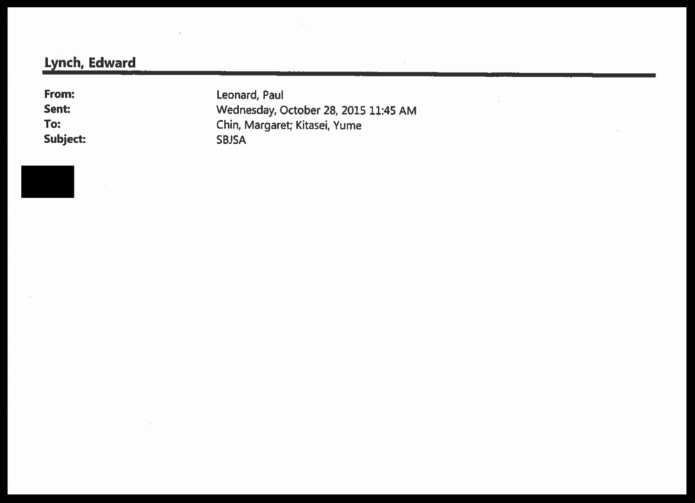 "A 2015 e-mail to Councilmember  Margaret Chin  from  Paul Leonard , her chief of staff, was redacted before it was released to Progress Queens in response to a  FOIL Request . The redacted e-mail was one of the few internal records of the  New York City Council  thus far released to Progress Queens in response to several FOIL Requests filed, seeking records about the  Small Business Jobs Survival Act , or SBJSA, draft legislation that would enact  rent regulation protections  for  small businesses  in New York City. Progress Queens later obtained an e-mail that was represented to be the redacted document, indicating that under the redacted black mark was the phrase, ""fyi,"" attaching a forward of an e-mail from advocates lobbying in support of the SBJSA. Source : New York City/Public Domain"