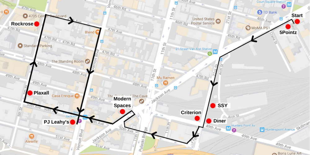 The route for the Queens Gentrification Tour through Long Island City. In advance of the tour, members of the Queens Anti-Gentrification Project released in a blog post information about real estate donations accepted by Councilmember Jimmy Van Bramer's campaign committee. The activist group charged that the campaign contributions subverted the public interest. Source : Queens Anti-Gentrification Project/Fair Use