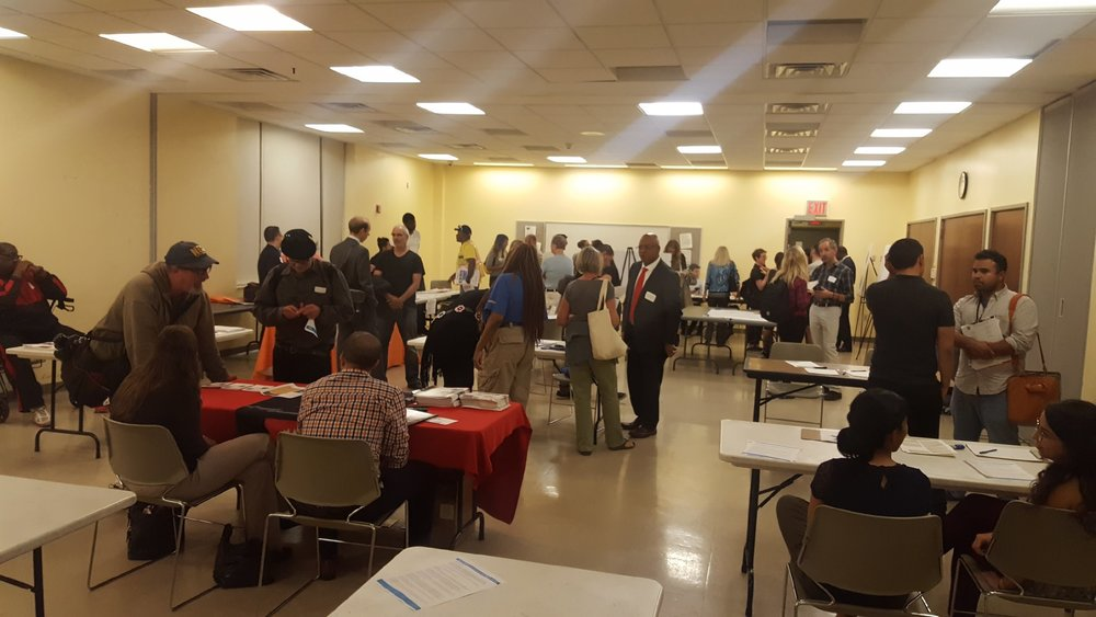Attendees of a  workforce development  community event in  Long Island City  on Thursday night mainly attracted City officials, table participants, reporters, and activists, according to information received by Progress Queens. The  New York City Department of City Planning  is hosting community events, promising jobs creation, to induce area residents to support the neighborhood rezoning of Long Island City. Source : Queens Anti-Gentrification Project/Used With Permission