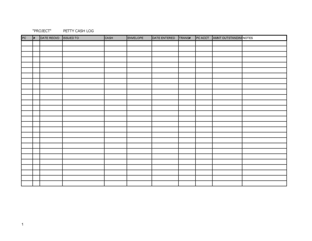 We Highly Suggest Building Your Own Spreadsheet With Your Own Formulas So  You Fully Understand The Work Flow. Below Is The Basic Format Of A Petty  Cash Log.