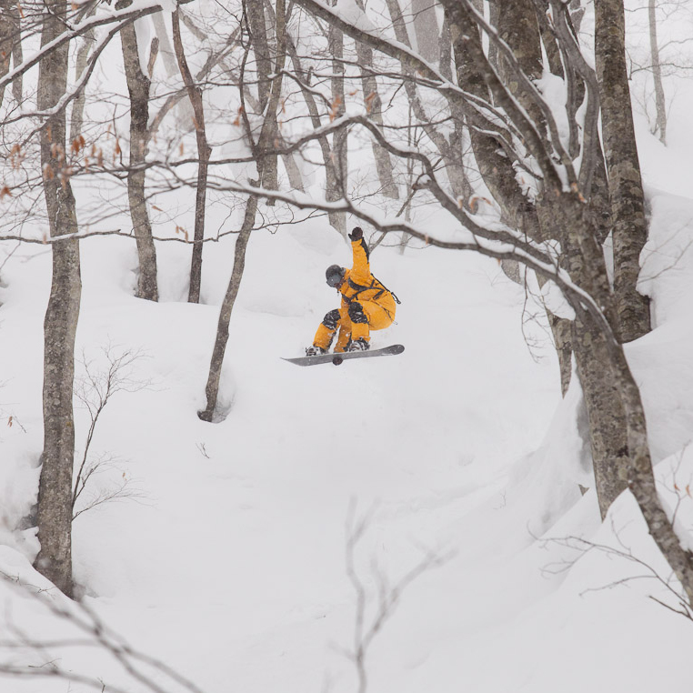Goro Komatsu exploring the forest, Hakuba Japan 2014 Photo: Tsutomu Endo
