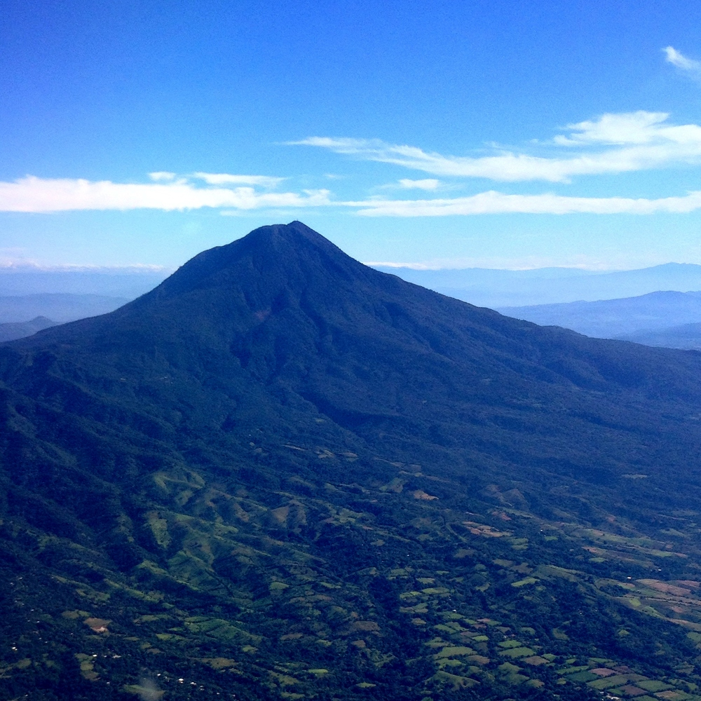 View of a volcano from the plane