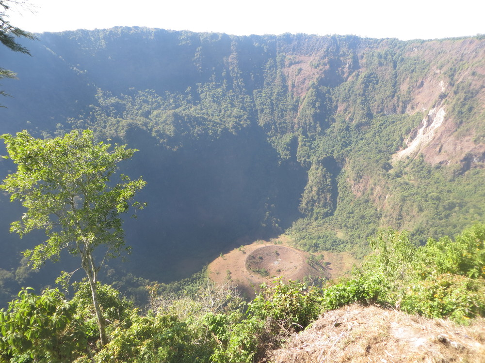 The crater of the active San Salvador volcano