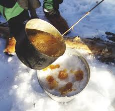 Source: Maple toffee being made in West Quebec. Taken by SimonP.