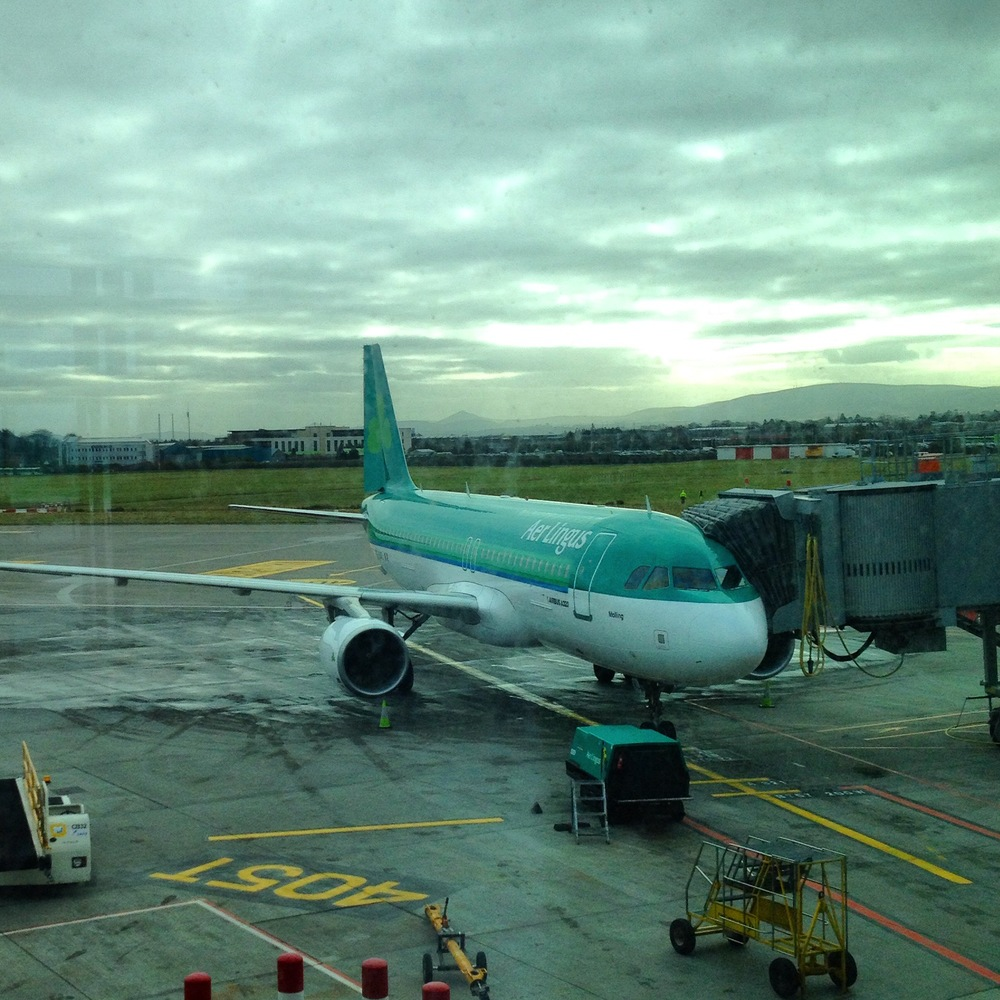 Waiting to board our Aer Lingus flight to Toronto at the Dublin Airport.