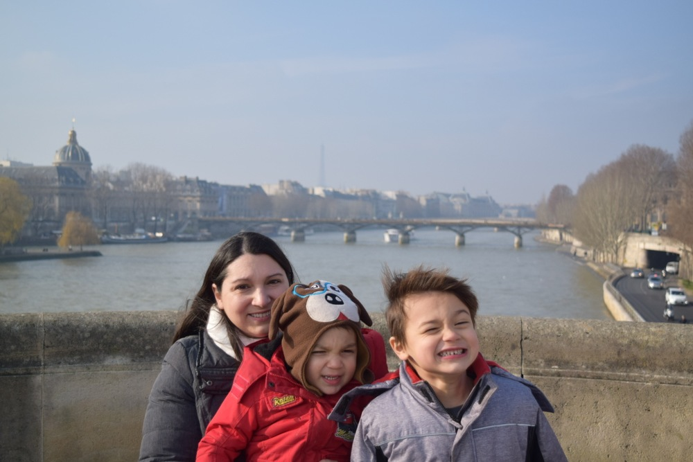 Smiles on the banks of  the River Seine before a trip to the Louvre