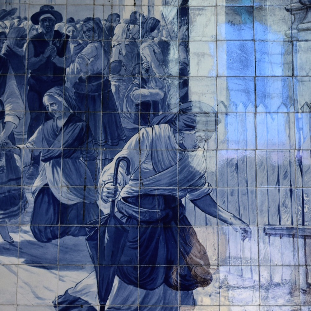 Just one of the many azulejo murals in the train station