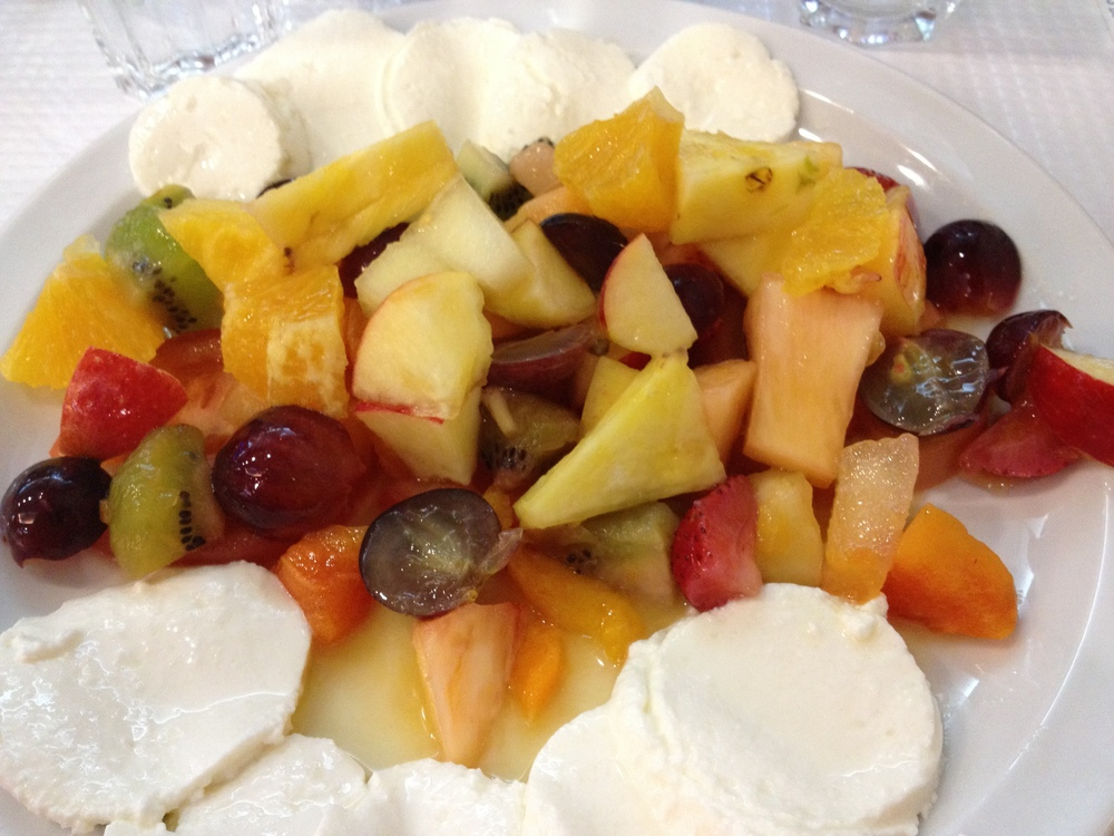 Simple but delicious fruit and cheese salad.