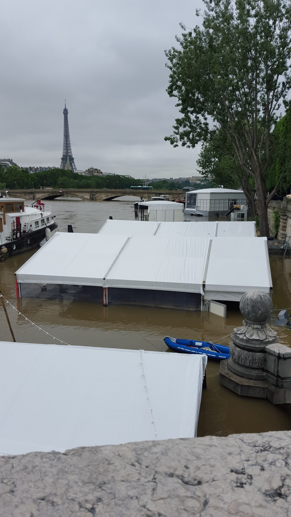 Business that line the banks of the Seine, including bars, are completely flooded.