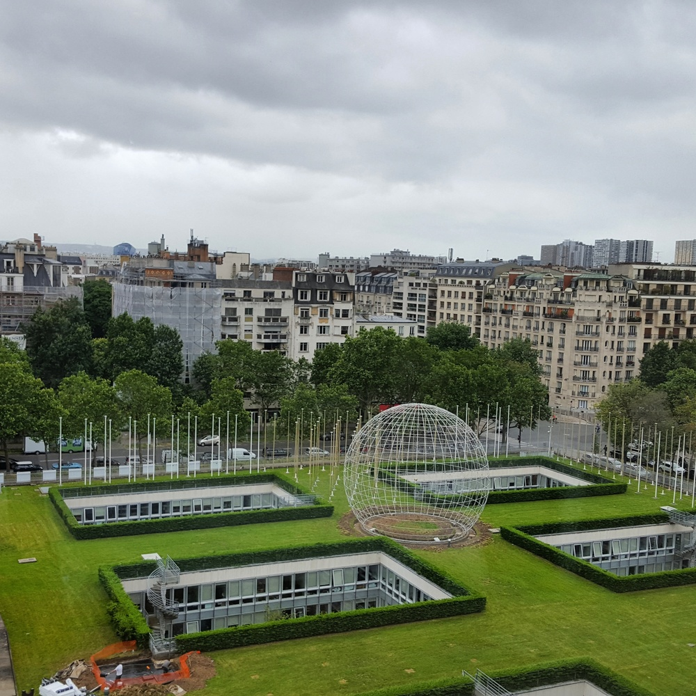 A view over some of the UNESCO grounds. When the organization was denied permission to build more buildings above ground, they had to get creative!