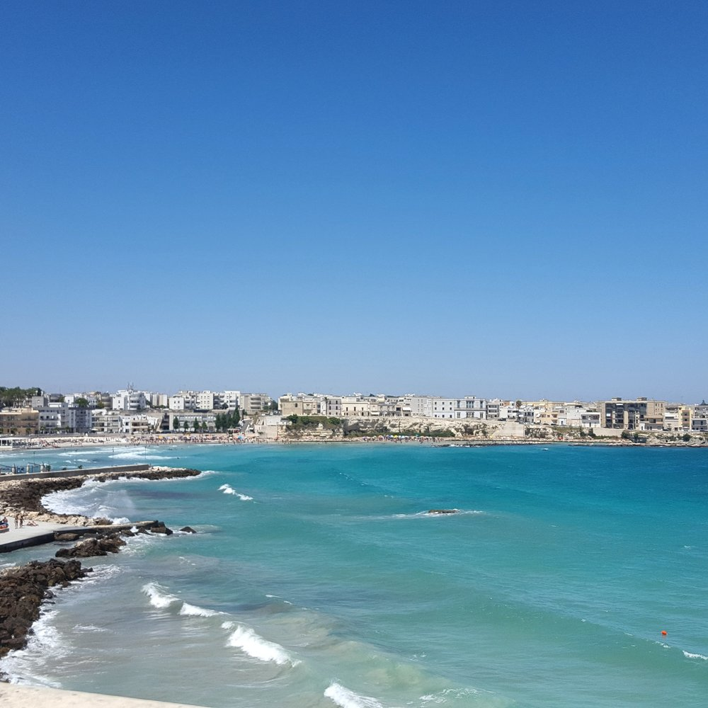 A view from the old town looking toward the modern city of Otranto.