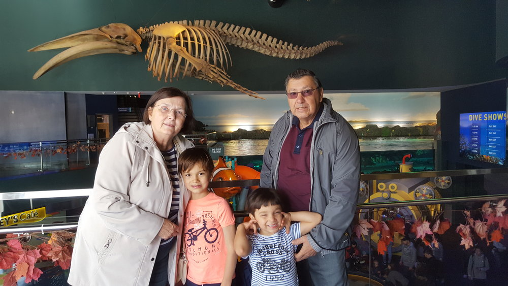 The kids with Grandma and Grandpa at the aquarium