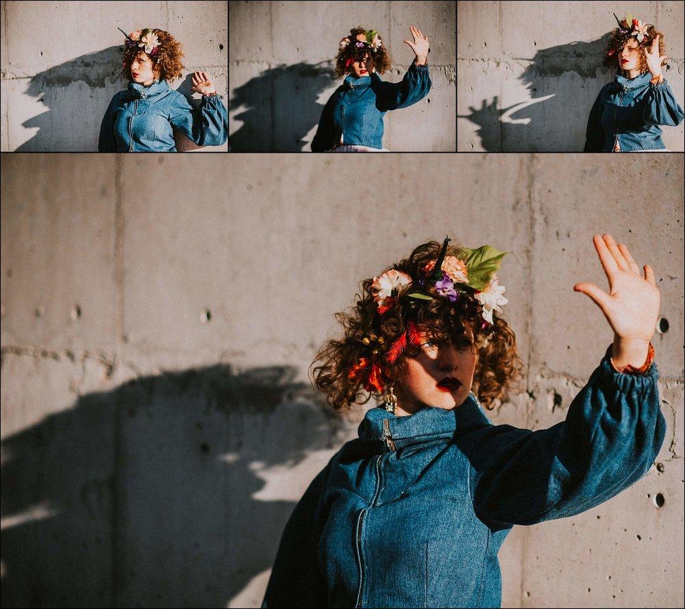 Creative-portrait-flower crown-shadowplay
