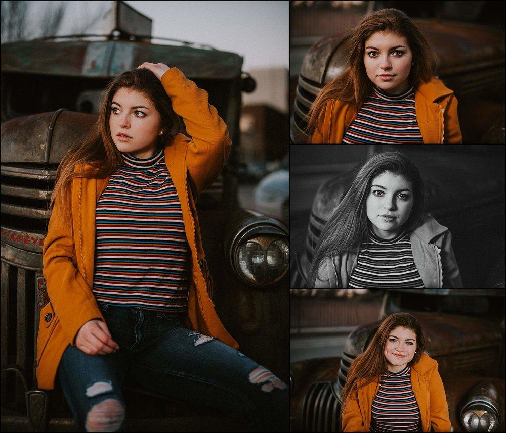 young-woman-portrait-vintage-truck-orange