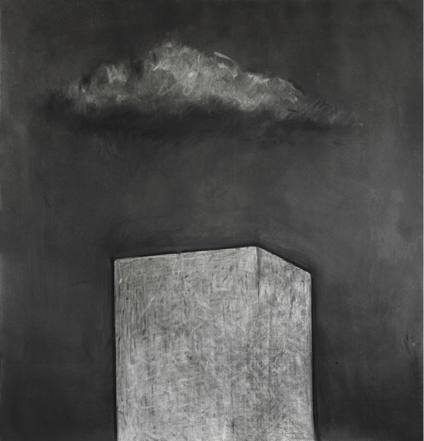 BUILDING IN THE NIGHT WITH CLOUD II (2011) charcoal on paper, 150x150cm