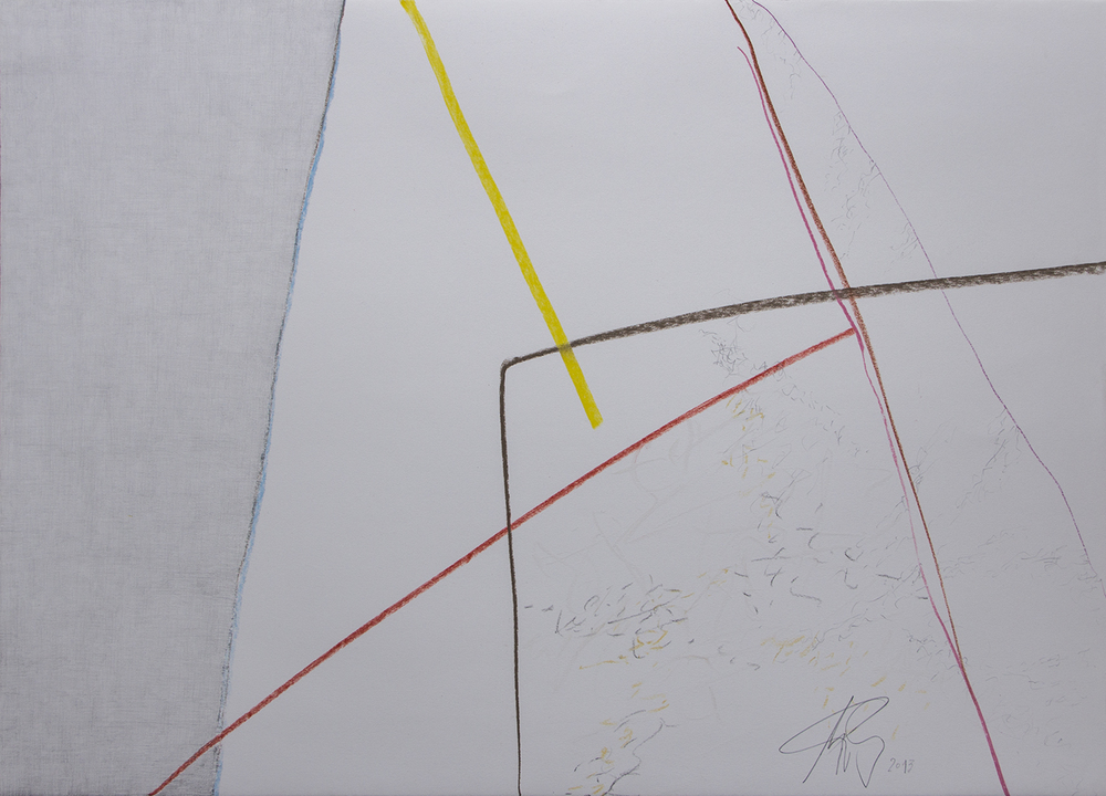 IN/OUT SPACE/ GEOMETRII SONORE (2013) PENCIL  AND PASTEL ON PAPER 57 X 77 CM