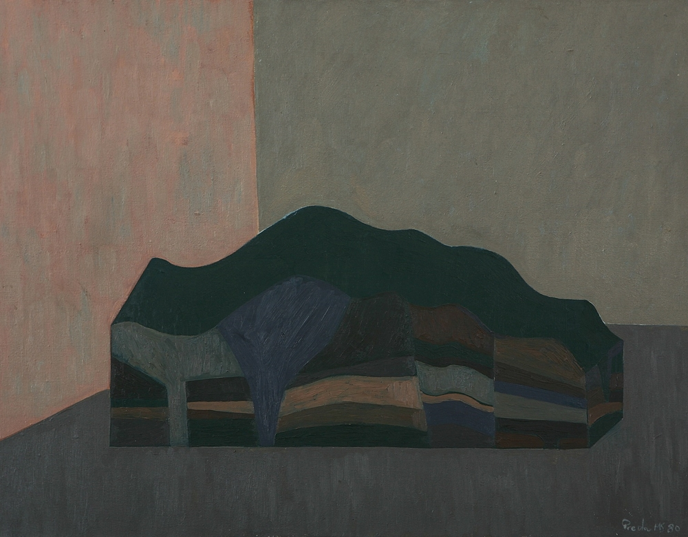 LANDSCAPE RECONFIGURATION (1980) OIL ON CANVAS 63 X 84 CM