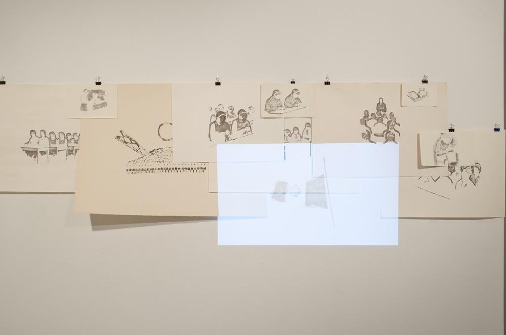 PREA TINERI PENTRU AMINTIRI (2015) FELT PEN ON PAPER, LOOP ANIMATION, 180 X 60 CM