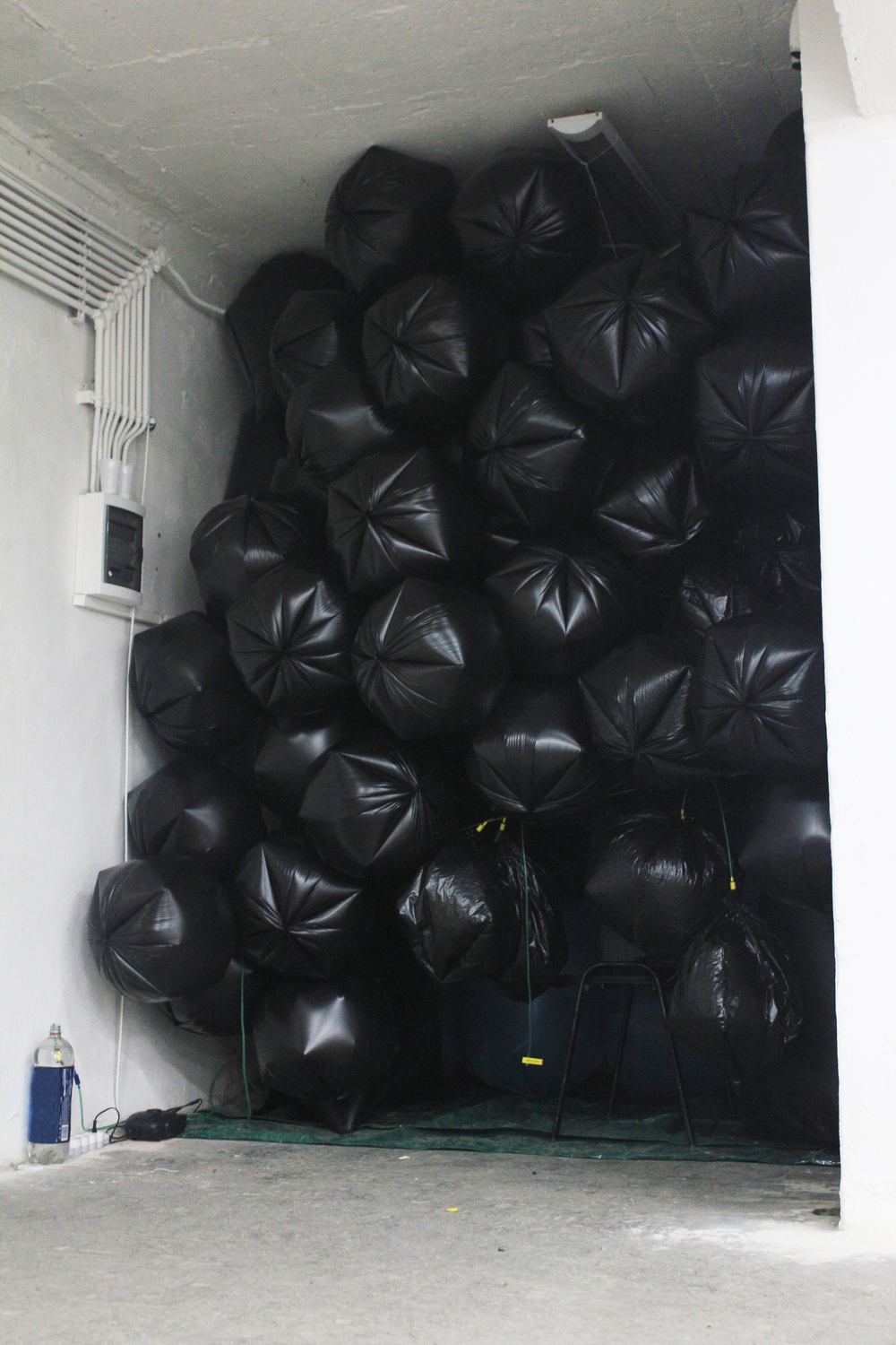 TRASH BAGs INSTALLATION II (2012) air pump, network of air tubes, trashbags. 350X350X400 cm