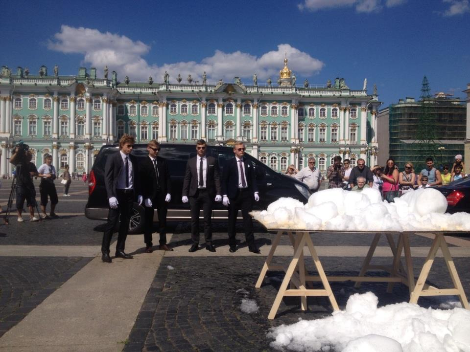 Cold Painting (2014) a performance commissioned by Manifesta 10, a snowball fight with 300kg of Olympic Snow from Sochi, in front of St. Petersburg's Winter Palace