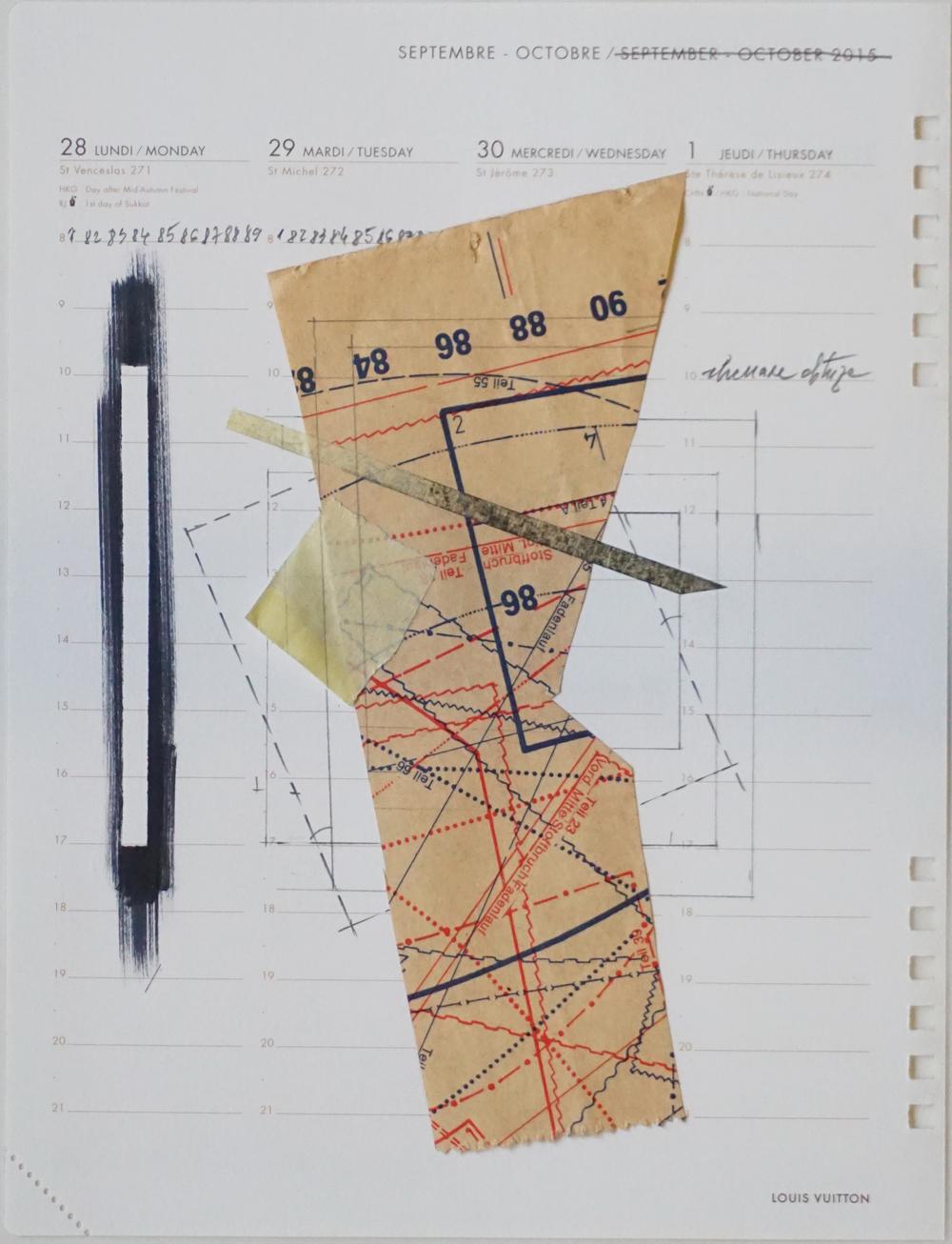 Temporel Louis Vuitton 5 (2015) mixed media on paper 22 x 16 cm