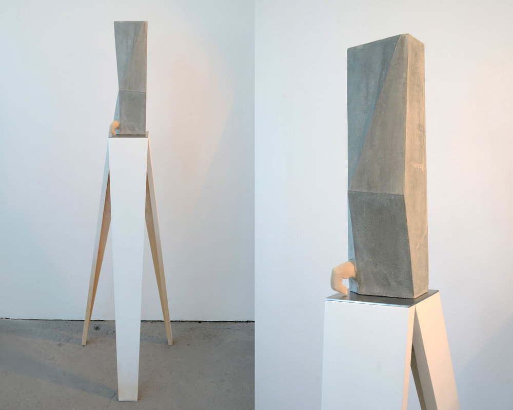 WITH (2013)  concrete, resin, graphite, metal, wood, paint, 136 x 40 x 41 cm