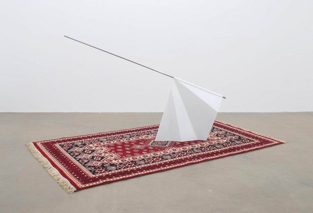 CORRUPTED SYMBOLS (2013) vintage rug, resin, paint, steel, bronze, 275 x146 x 126 cm
