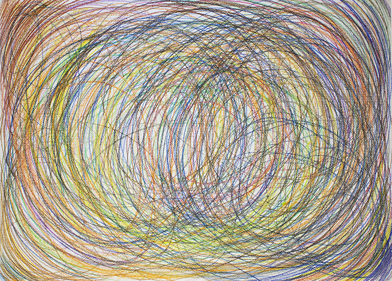 ACTION DRAWING; CIRCLES #0111 (2017) drawing, wax pencils on paper, 70 x 100 cm