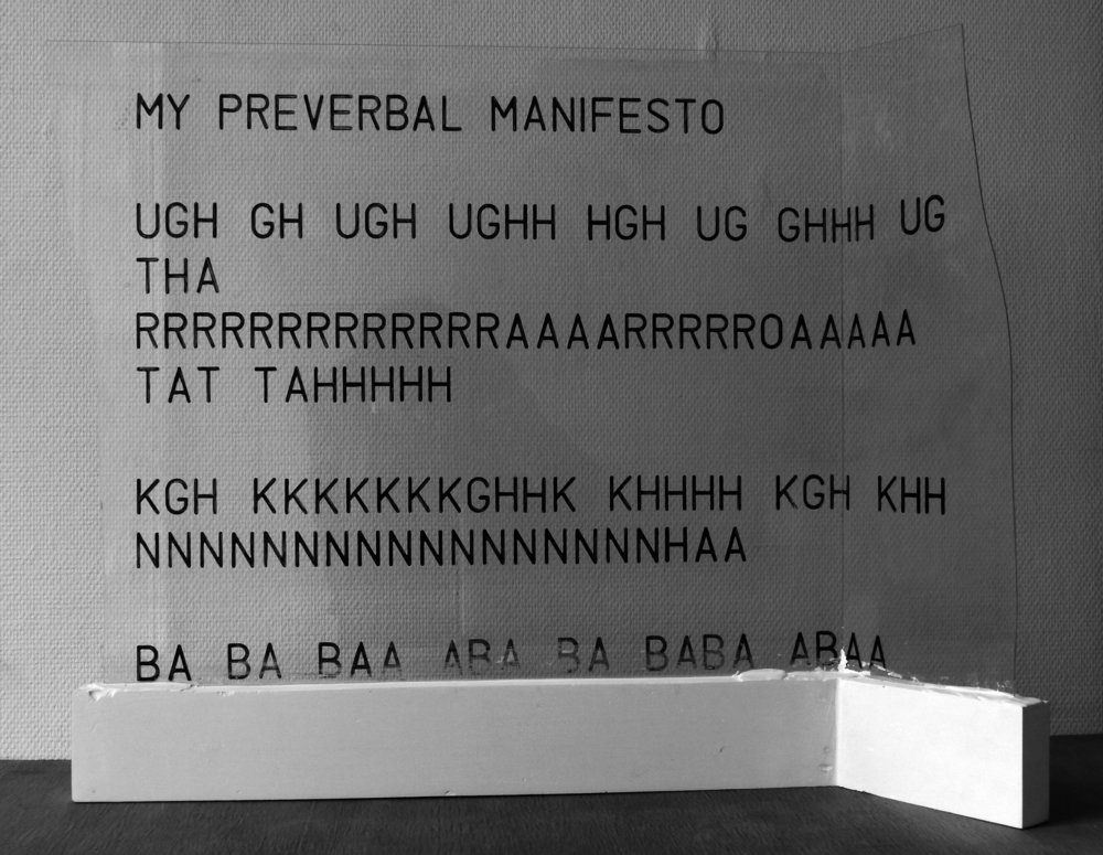 MY PREVERBAL MANIFESTO (2012)  permanent marker on glass and plaster, 80 x 65 x 18 cm