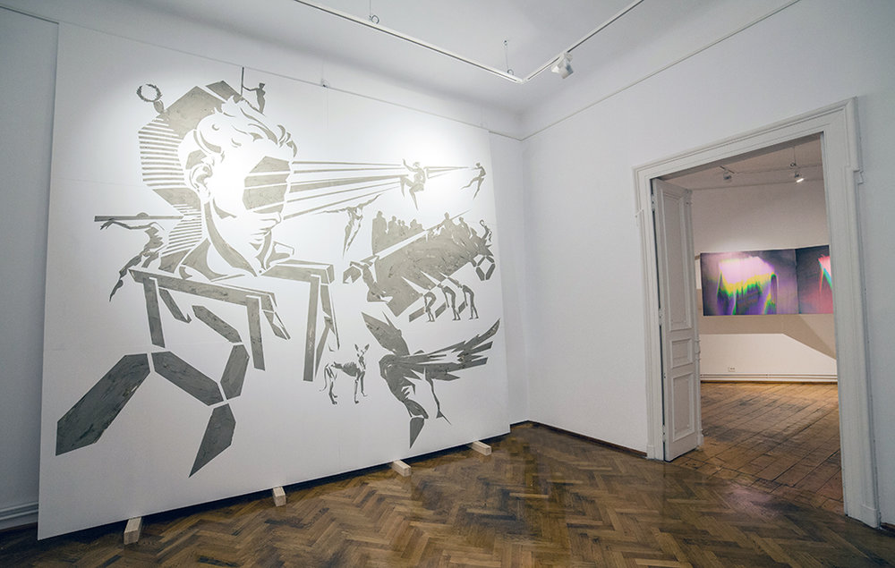 BEING BUILT (2014) earth stencil on wood panels, 400 x 360 cm