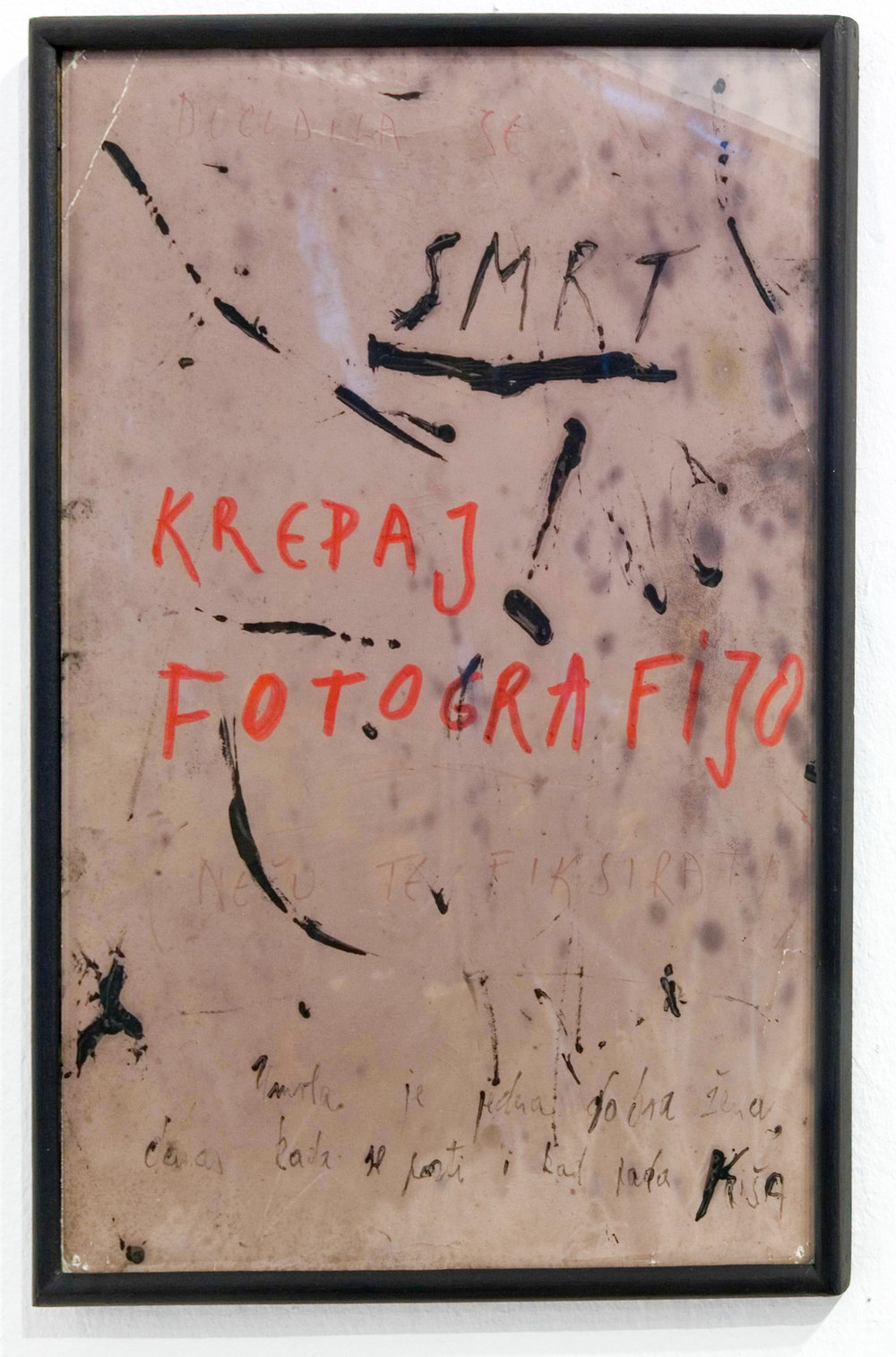 DROP DEAD PHOTOGRAPH (1973) photographic paper, tempera, marker