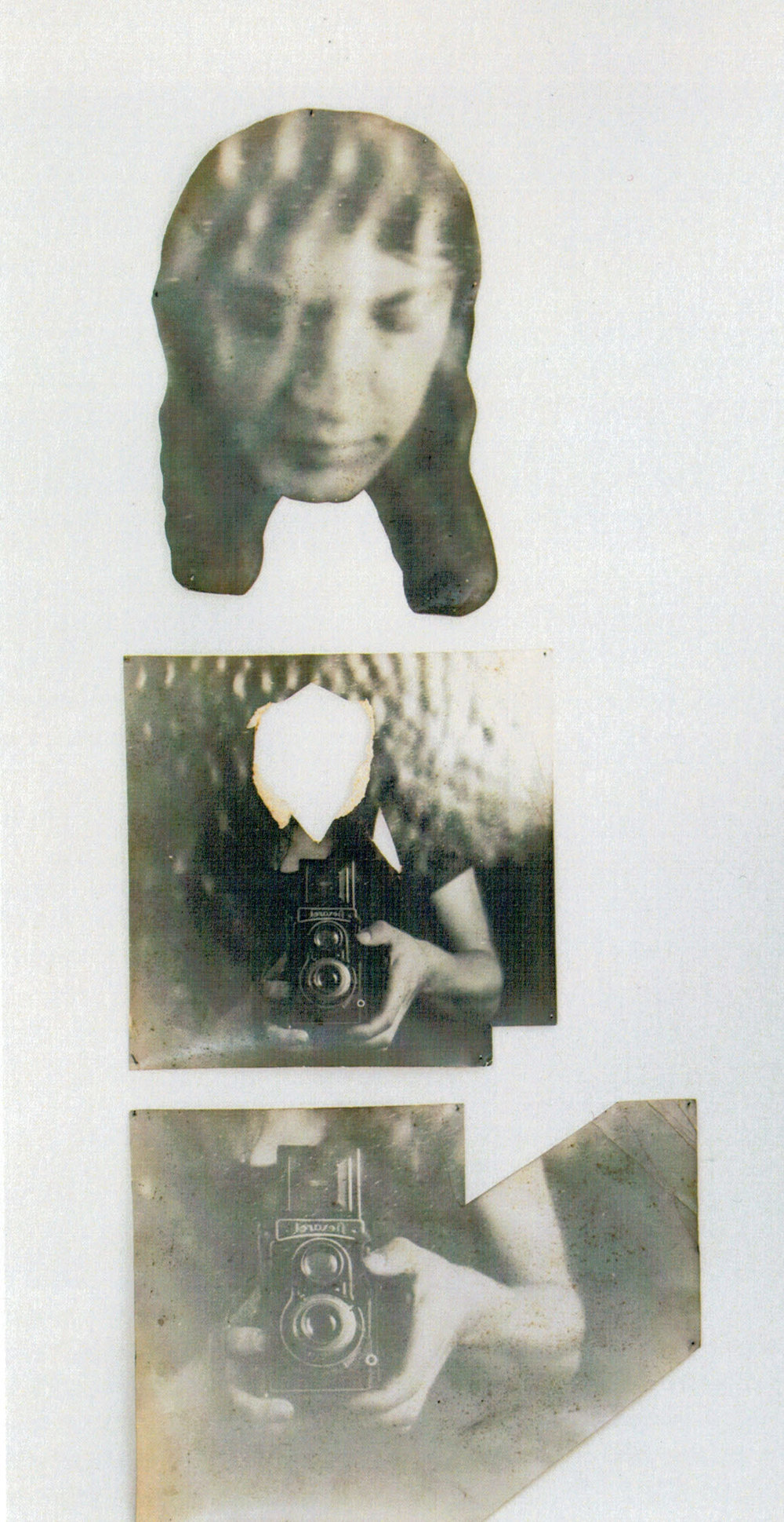 SELFPORTRAIT (1973) black and white photograph on cardboard