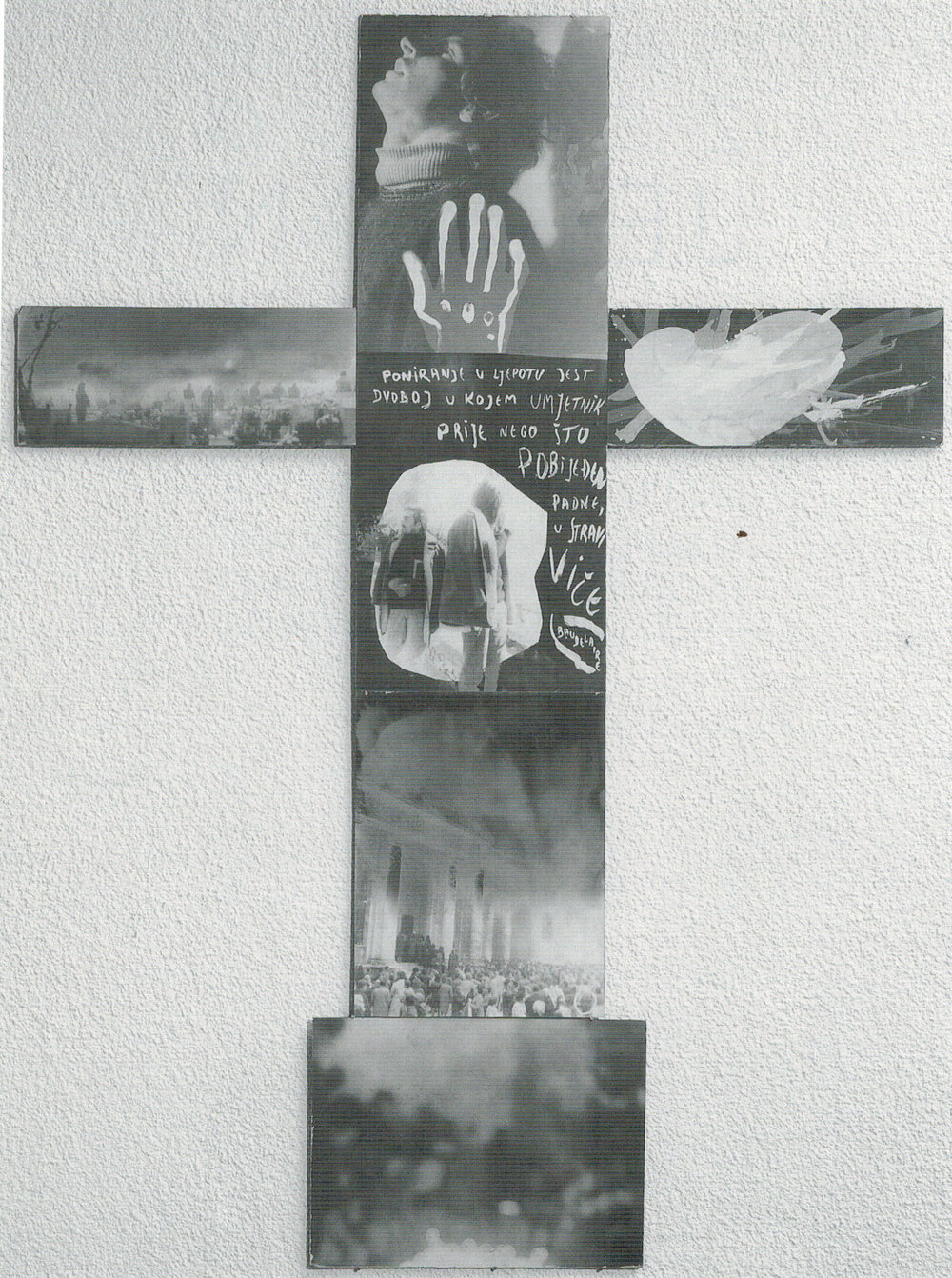CROSS (1973) black and white photographs on hardboard, pencil