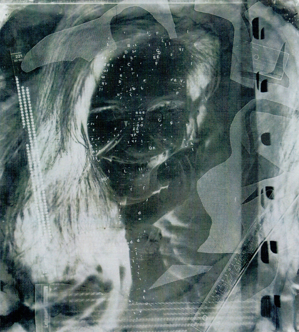 B. IN NEGATIVE (1989) black and white photograph, photogram, letraset