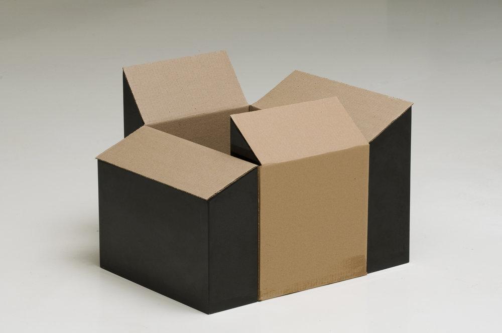 NOON SERIES/ BOX (2009) cardboard and basalt, 50 x 105 x 65 cm