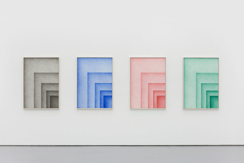 DIN - SYSTEM (2017) document proof pen on paper, 116 x 84 cm each, framed 123 x 88 cm each
